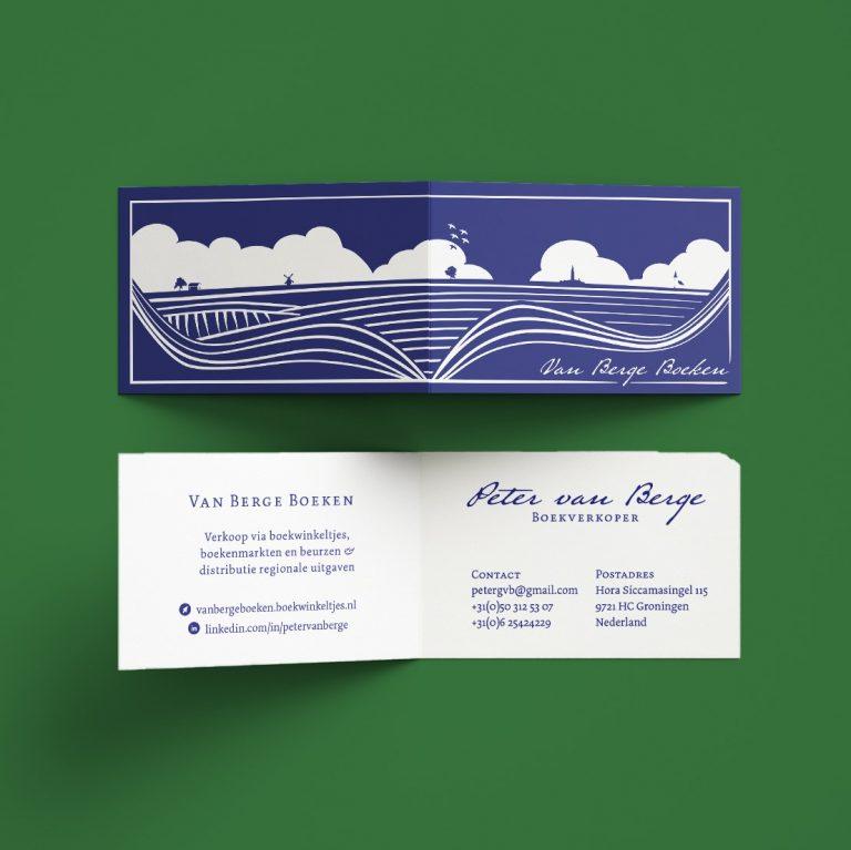 Boekenlegger en visitekaartje voor Peter van Berge Boeken - Vera Post Vormgeving