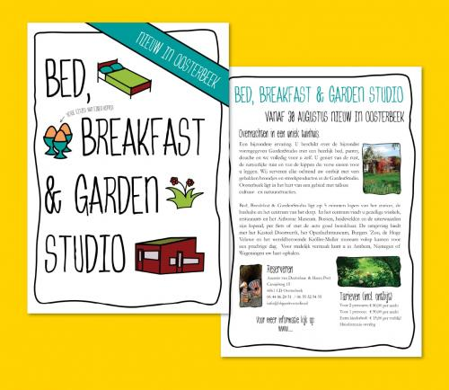 Flyer in opdracht van Bed, Breakfast & Gardenstudio Oosterbeek.